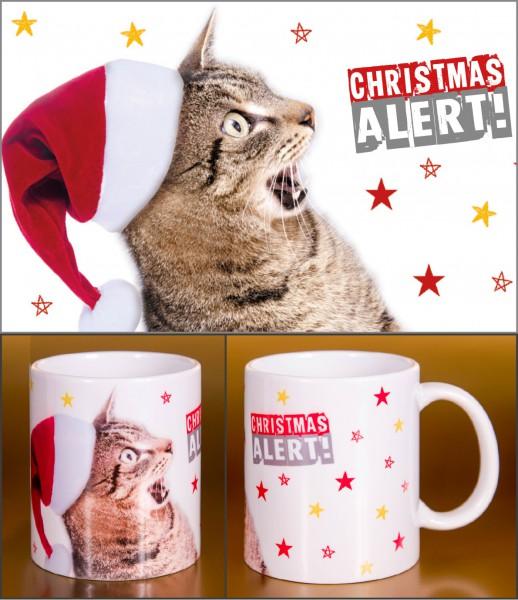 Glühweinbecher Weihnachten Keramik Henkelbecher erschrockene Katze 'Christmas Alert!'