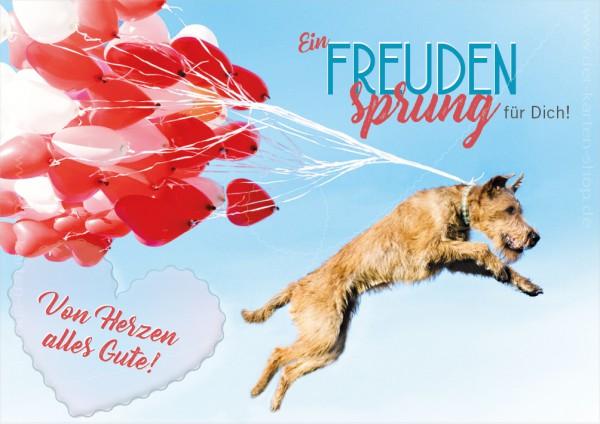 Doppelkarte Geburtstagskarte Glückwunschkarte Hund mit Luftballons 'Ein Freudensprung für Dich'