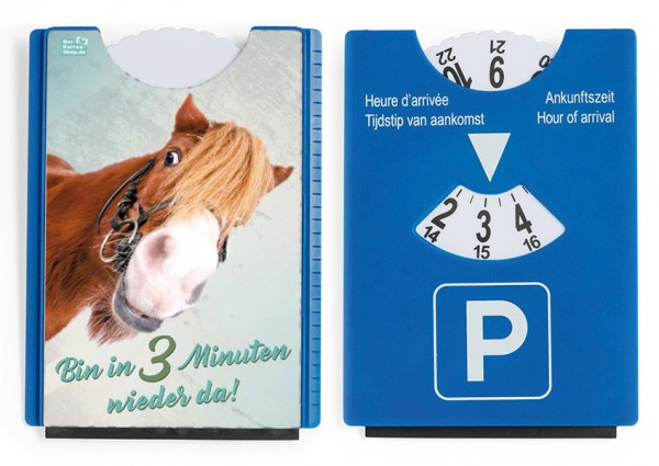 Motiv / Spaß / Fun Parkscheibe mit Eiskratzer und Gummilippe Pony 'Bin in drei Minuten wieder da'