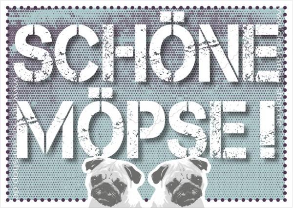 Postkarte Grußkarte Spruchkarte mit Mops Motiv 'Schöne Möpse!'