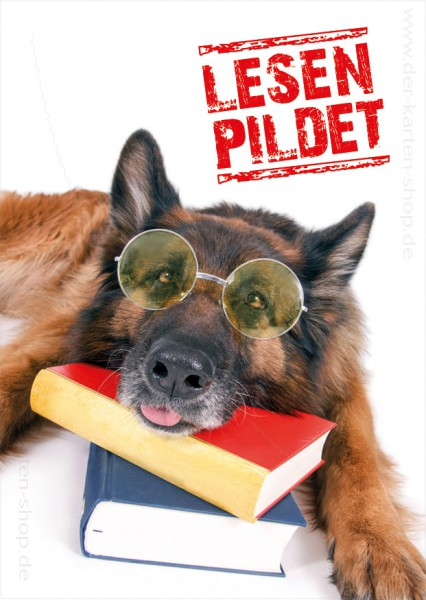 Postkarte Grußkarte witziger Hund mit Brille und Büchern 'Lesen Pildet!'