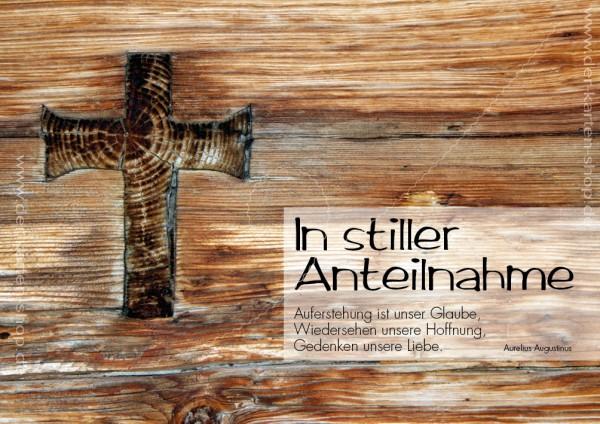 Doppelkarte Trauerkarte zum Abschied, hölzernes Kreuz 'In stiller Anteilnahme'