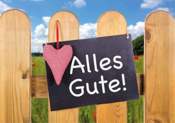 Doppelkarte Geburtstagskarte Glückwunschkarte sommerlicher Zaun mit Schild 'Alles Gute'