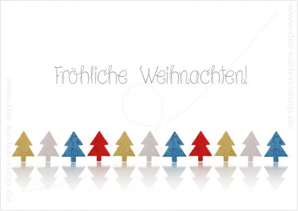 Postkarte Weihnachtskarte Weihnachtsbäume in der Reihe 'Fröhliche Weihnachten'