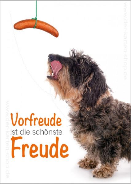 Postkarte Grußkarte Dackel mit Wurst 'Vorfreude ist die schönste Freude'