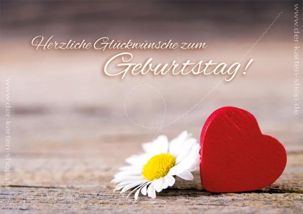 Doppelkarte Geburtstagskarte Herz Mit Ganseblumchen Herzliche