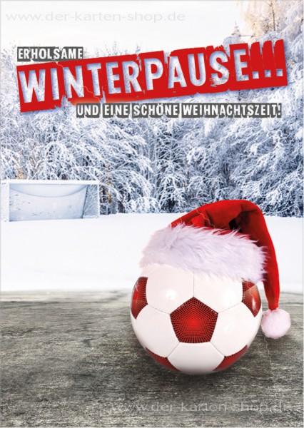 Postkarte Weihnachtskarte Fußball 'Erholsame Winterpause und eine schöne Weihnachtszeit'