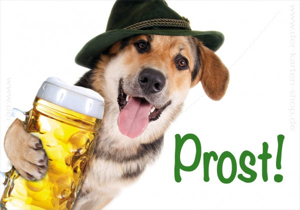Magnet Kühlschrankmagnet witziger Schäferhund mit Bier 'Prost'