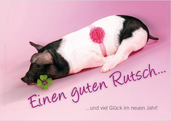 Doppelkarte Jahreswechsel Silvester Glücksschwein Ferkel 'Einen guten Rutsch...'