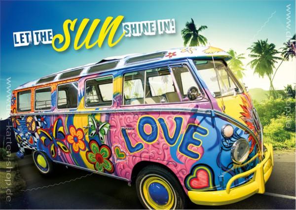Postkarte Grußkarte VW Bus, Bulli, T1 'Let the sun shine in!'