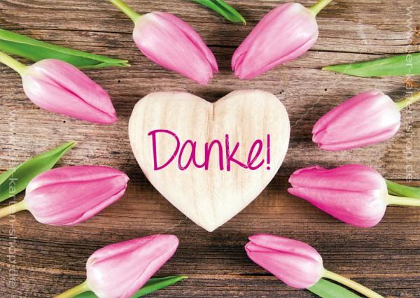 Postkarte Grußkarte Dankeskarte Tulpen und Holzherz 'Danke'