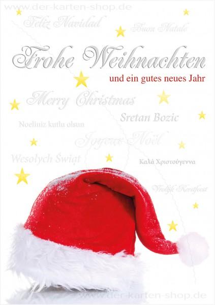 Doppelkarte Weihnachten Nikolausmütze und Weihnachtsgrüße mehrsprachig