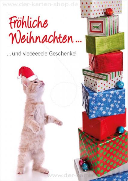 Postkarte Weihnachtskarte Katze mit Geschenken 'Fröhliche Weihnachten'