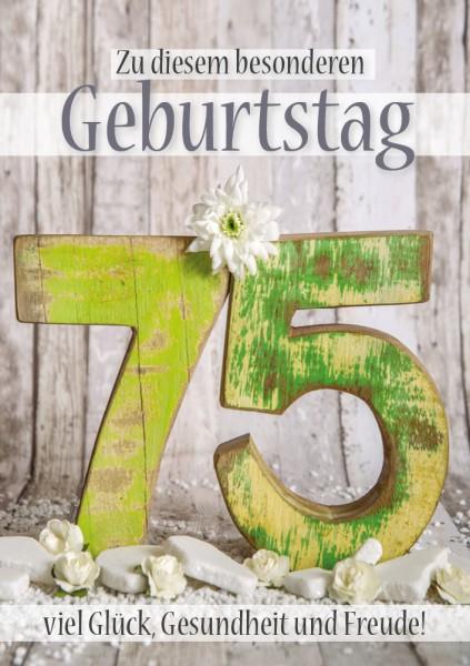 Doppelkarte Geburtstagskarte Zahlengeburtstag '75. Geburtstag'