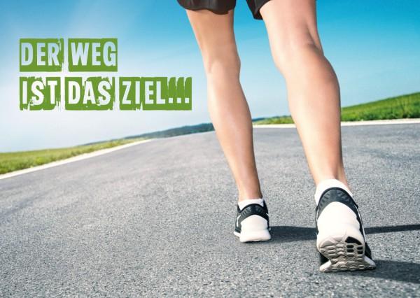 Postkarte Grußkarte Motivationskarte Jogger 'Der Weg ist das Ziel'