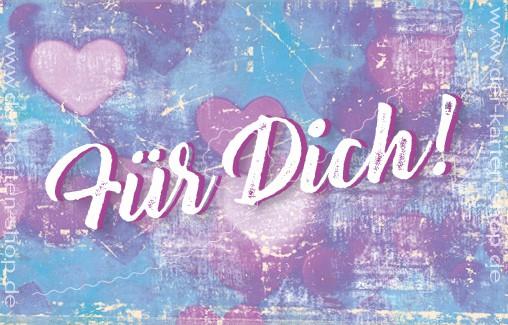 Minikarte Glückwunschkarte Geschenkkarte Grußkarte Herzen auf Lila 'Für Dich!'