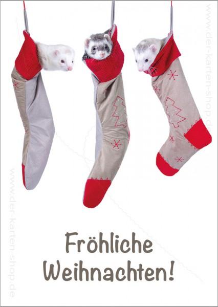 Postkarte Weihnachtskarte drei süße Frettchen in Nikolausstiefeln 'Fröhliche Weihnachten'