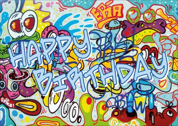 Postkarte Geburtstagskarte bunte Graffiti Mauer 'Happy Birthday'