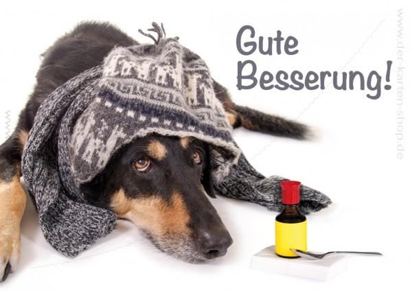 Doppelkarte Grußkarte Genesungskarte kranker Hund mit Medizin 'Gute Besserung'