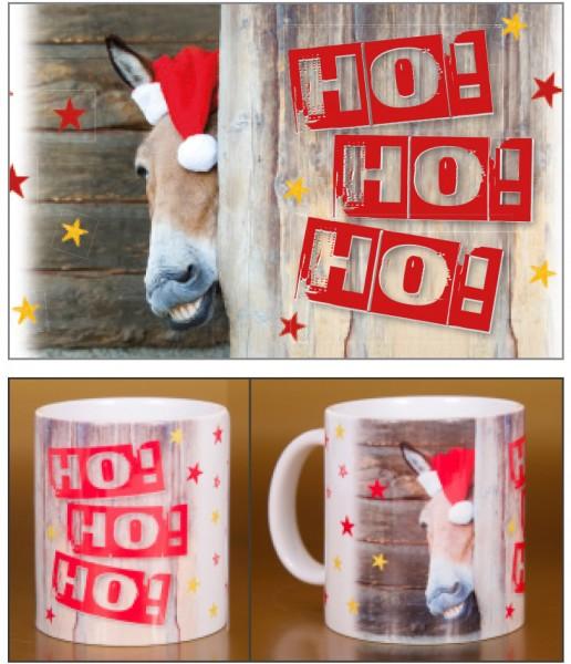 "Glühweinbecher Weihnachten Keramik Henkelbecher fieser Esel ""Ho Ho Ho!"""