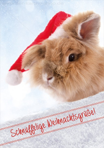 Doppelkarte Weihnachtskarte süßes Kaninchen 'Schnuffelige Weihnachten!'
