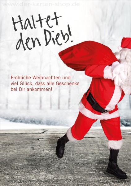 Doppelkarte Weihnachten Nikolaus Weihnachtsmann läuft weg: 'Haltet den Dieb'