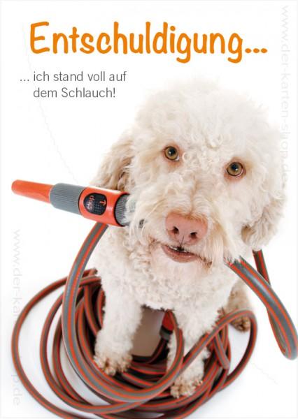 Postkarte Grußkarte Entschuldigungskarte Hund 'Entschuldigung, ich stand voll auf dem Schlauch'