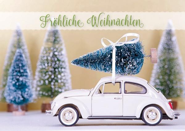 Postkarte Weihnachtskarte Retro VW Käfer mit Tannenbaum 'Fröhliche Weihnachten'