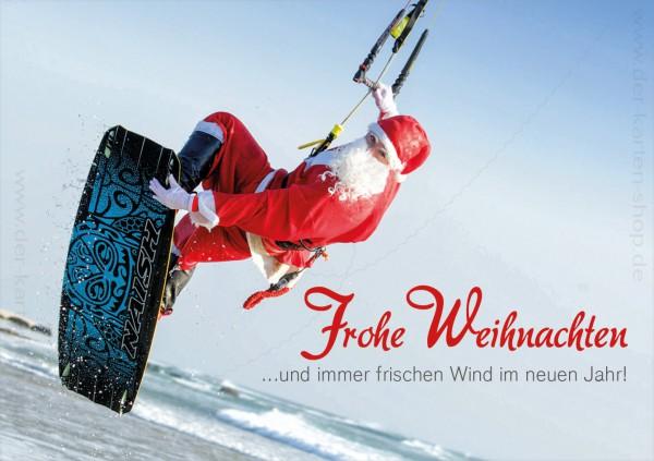 Doppelkarte Weihnachten Kitesurfer Nikolaus 'Frohe Weihnachten und immer frischen Wind im neuen Jahr