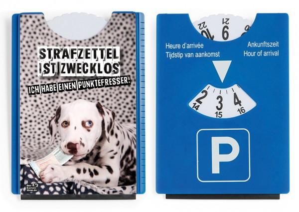 Motiv / Spaß / Fun Parkscheibe mit Eiskratzer und Gummilippe Dalmatiner 'Punktefresser'