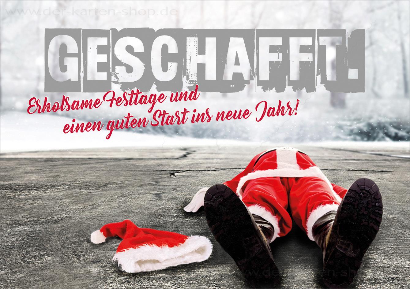 Doppelkarte weihnachten platter nikolaus weihnachtsmann 39 geschafft 39 doppelkarten weihnachten - Weihnachtskarten shop ...