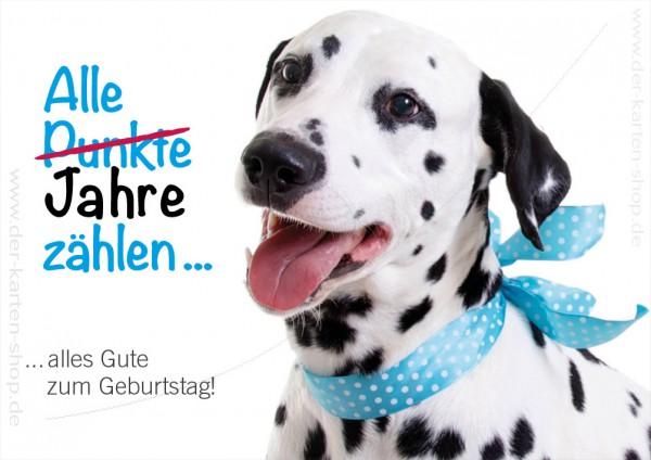 Doppelkarte Geburtstagskarte Dalmatiner 'Alle Punkte, alle Jahre zählen'
