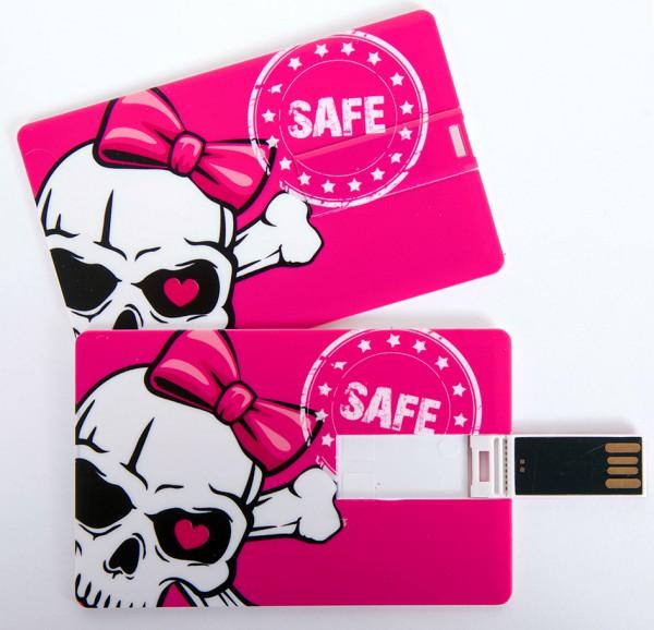 USB Stick als Scheckkarte, Kreditkarte, 4 GB pink Totenkopf Skull 'Safe'