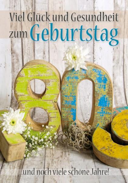 Doppelkarte Geburtstagskarte Zahlengeburtstag '80. Geburtstag'