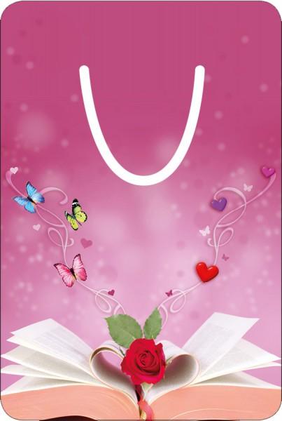 Lesezeichen Aluminium, Buch zum Träumen mit Herzen, Schmetterlingen und Rose