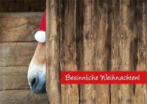 Doppelkarte Weihnachtskarte Esel Pferd im Stall 'Besinnliche Weihnachten'