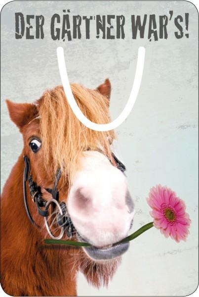 Lesezeichen Aluminium, Witziges Pony mit Blume 'Der Gärtner war's'