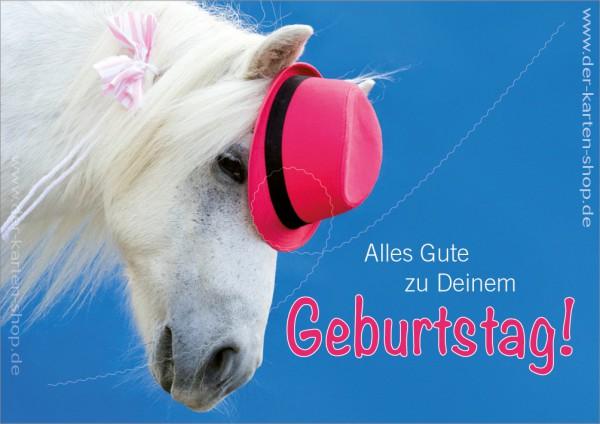 Doppelkarte Geburtstagskarte Pony mit Hut 'Alles Gute zu Deinem Geburtstag'