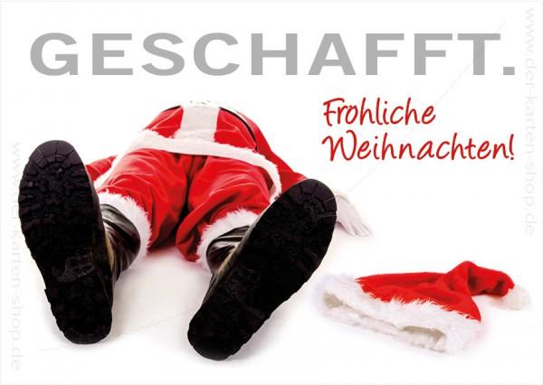 Postkarte Weihnachtskarte Burn-Out Nikolaus Weihnachtsmann 'Geschafft'