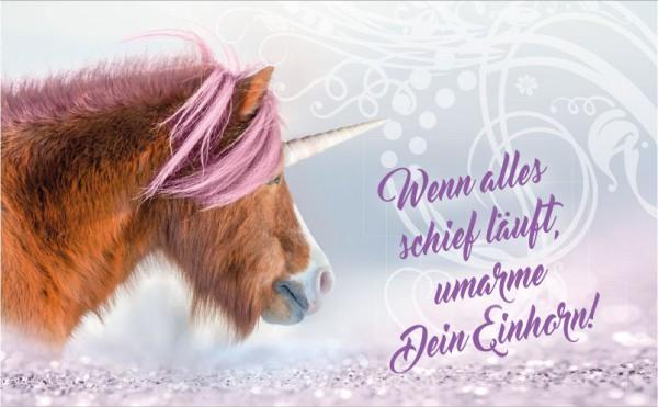 Henkelbecher Keramik Kaffeetasse Einhorn Pony 'Wenn alles schief läuft...'