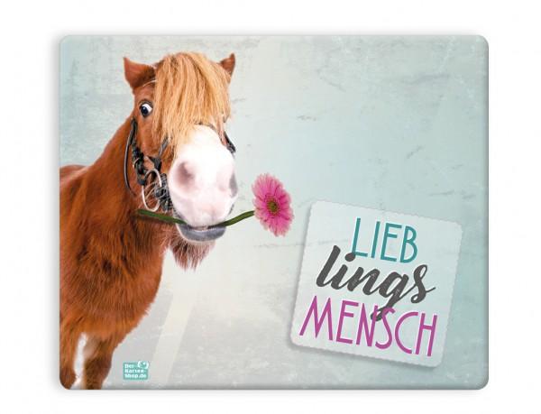 Mauspad Mousepad süßes Pferd, Pony mit Blume 'Lieblingsmensch'