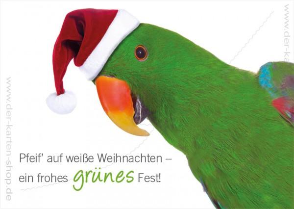 Postkarte Weihnachtskarte Papagei 'Pfeif auf weiße Weihnachten...'
