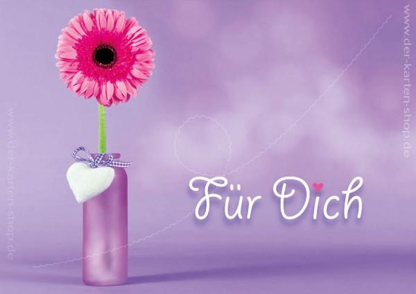 Doppelkarte Geburtstagskarte Glückwunschkarte Vase mit Gerbera Blume 'Für Dich'