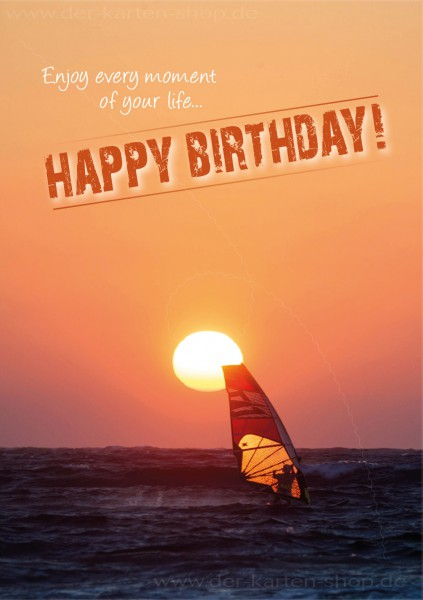 Doppelkarte Geburtstagskarte Windsurfer 'Enjoy every moment of your life. Happy birthday'