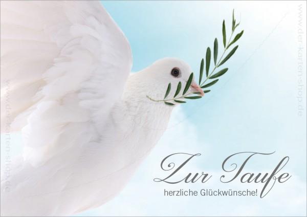 Doppelkarte Glückwunschkarte weiße Taube 'Zur Taufe herzliche Glückwünsche'