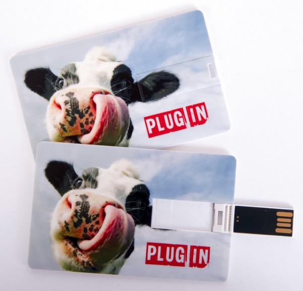 USB Stick als Scheckkarte, Kreditkarte, 4 GB Kuh mit Zunge 'Plug In'
