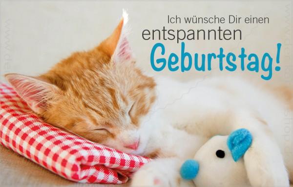 Minikarte Geburtstagskarte Schlafende Katze Entspannter Geburtstag