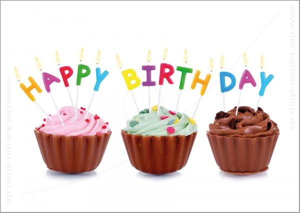 Postkarte Geburtstagskarte Cupcakes und Geburtstagskerzen 'Happy Birthday'