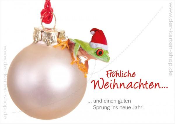 Postkarte Weihnachtskarte Rotaugenlaubfrosch 'Fröhliche Weihnachten und einen guten Sprung ins neue