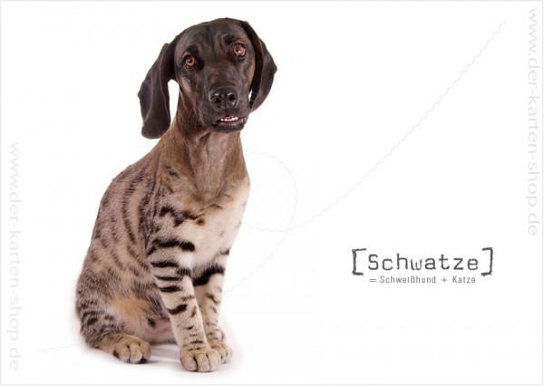 Postkarte Grußkarte Tierischer Mutant Schweißhund – Katze 'Schwatze'